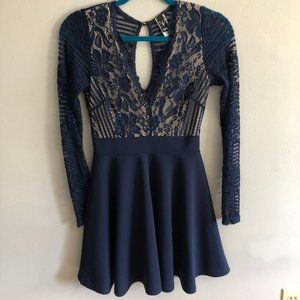 Short Long Sleeve Lacy Blue Dress